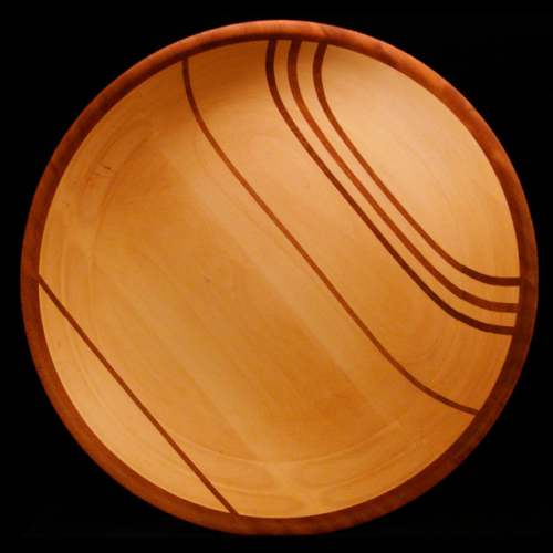 Basswood Bowl with 5 Vertical Sapele Stripes and Sapele rim