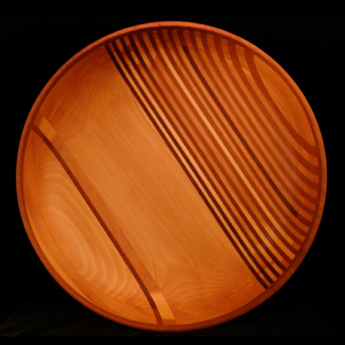 Pine Bowl with Mahogany Stripes and Rim