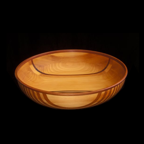 Pine Bowl with Mahogany Stripes