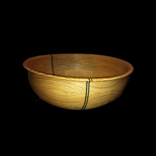 Southern Yellow Pine Bowl with 2 Verticle Wenge Stripes
